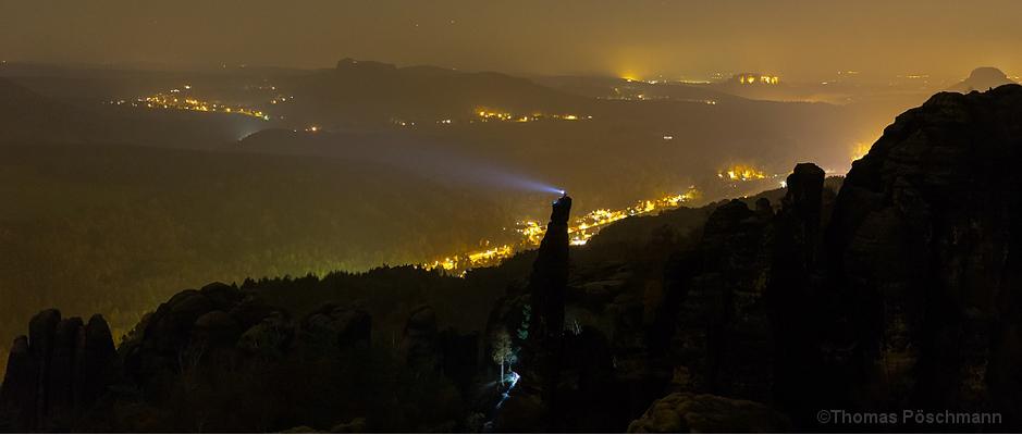 Licht auf dem Kletterfelsen Tante, Foto von Thomas Pöschmann