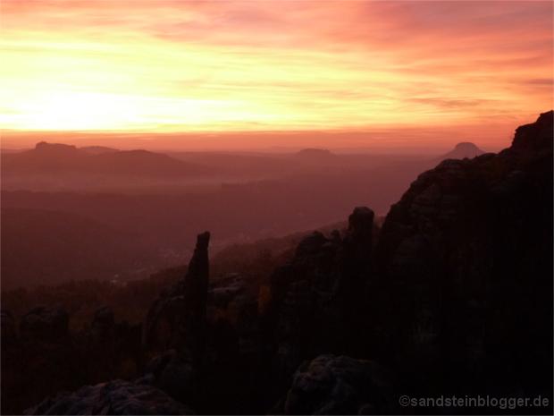 Sonnenuntergang auf der Schrammsteinaussicht