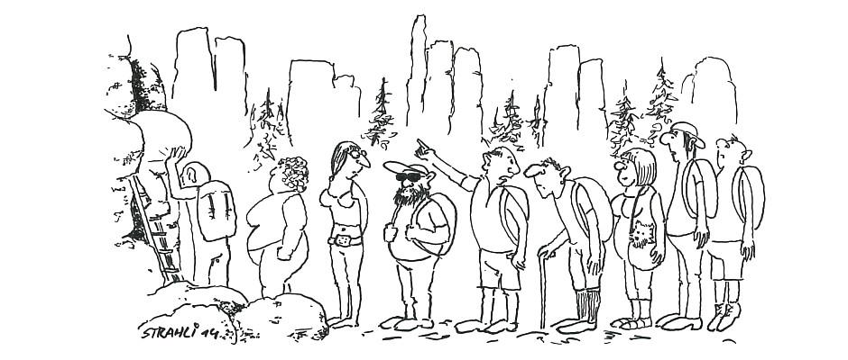 Am Einstieg. (Karikatur: Wolfgang Strahl)