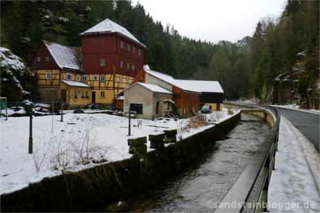 Das Gasthaus Buschmühle im Kirnitzschtal.