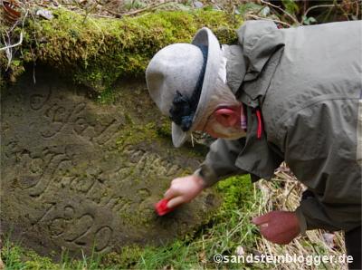 Felsinschrift am Krippenbach