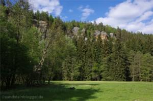 Skály Rabensteine na česko-německé hranici jsou hnízdištěm rodiny sokolů stěhovavých. (Foto: Hartmut Landgraf)