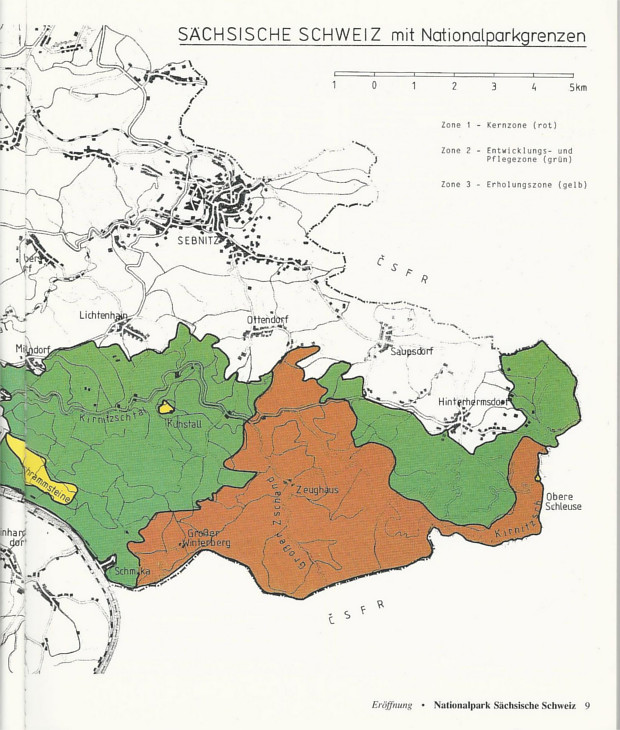 Alte Nationalparkkarte mit Kernzone
