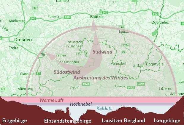 Wetterkarte vom Böhmischen Wind