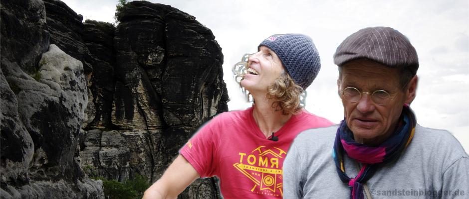 Stefan Glowacz und Bernd Arnold. Im Hintergrund die Südwand der Gans.