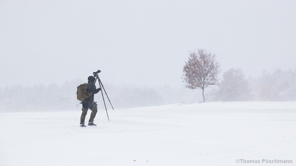 Fotograf im Schneetreiben