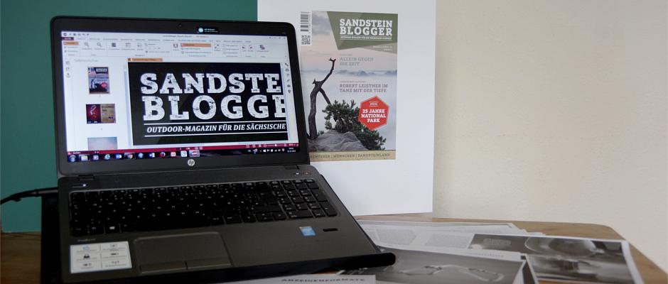 Das neue Logo des Magazins auf dem Computer-Bildschirm