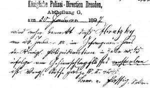 Notiz in den Polizeiakten über den Tod des Schornsteinfegers Abratzky