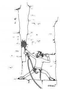 Karikatur, Kletterer mit Knotenschlinge