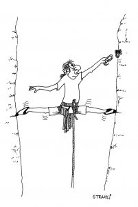 Karikatur, Kletterer in extrem breitem Kamin
