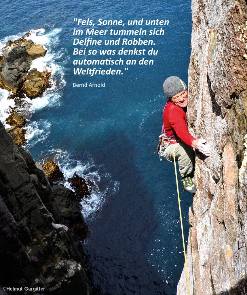 Kletterer Bernd Arnold, Felsen im Meer, Totem Pole