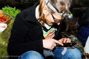 Frau studiert ihr Smartphone