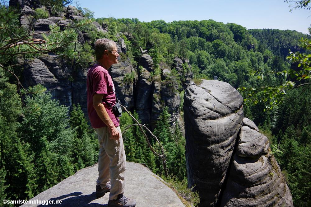 Mann auf einem Felsen inmitten von Wäldern