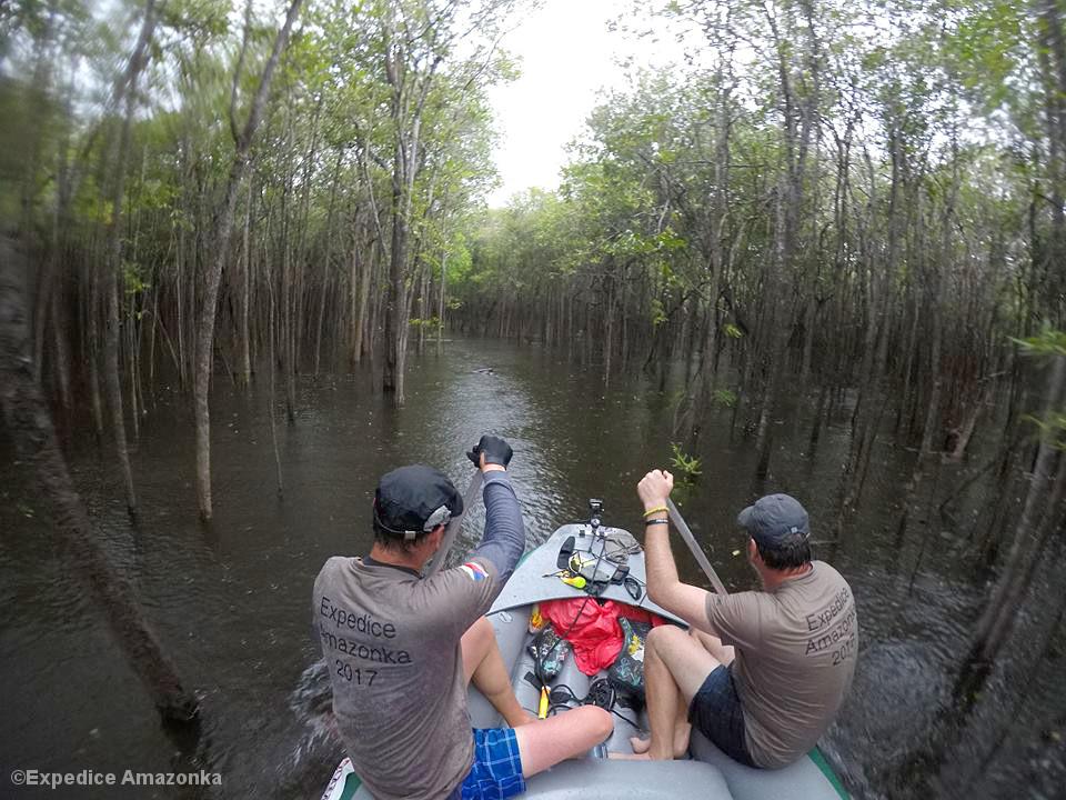 Männer paddeln durch überfluteten Tropenwald
