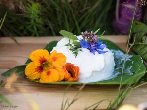 Ziegenfrischkäse, Blumen
