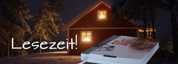 Hütte im Schnee, eingeblendet ein Buch
