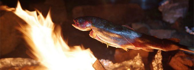 Fisch am Spieß überm Lagerfeuer