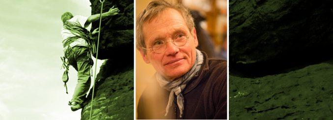 Fotomontage, Portraitfoto Bernd Arnold und Mann beim Klettern