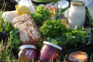 Zutaten fürs Abendessen - Brot, Frischkäse, Petersilie, rote Beete