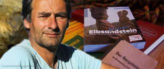 Fotomontage - Kletterführerautor Helmut Schulze mit seinem Werk