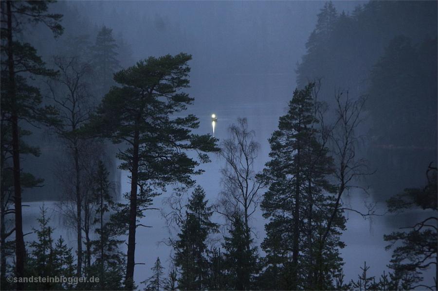 Licht auf dem See, zwischen den Bäumen in der Ferne treibt ein Boot