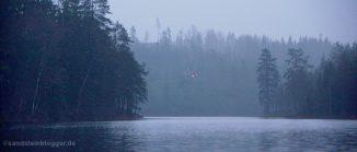 Stiller See im Wald, in der Ferne ein einsames Licht
