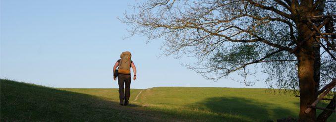 Mann mit Rucksack wandert über einen Wiesenhügel